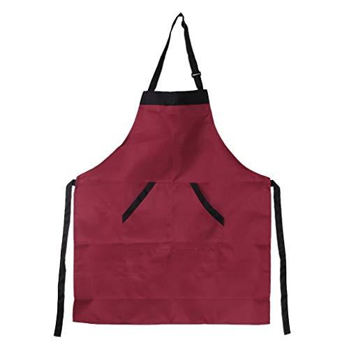 ruiruiNIE Mens Mens Chef Kitchen Restaurant Lätzchen Schürze Kleid Geschenk mit 2 Taschen - rot