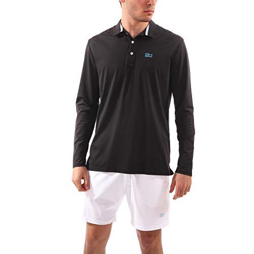 SPORTKIND Boys & Men's Tennis/Golf/Sports Long Sleeve Polo Shirt, Black, Size XXX-Large