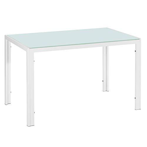 Hapeisy Mesa de comedor de cristal rectangular, mesa de comedor de cristal templado, mesa de comedor moderna de cristal para el hogar, la oficina, la cocina (blanco, 47.24 x 27.56 x 29.53 pulgadas)