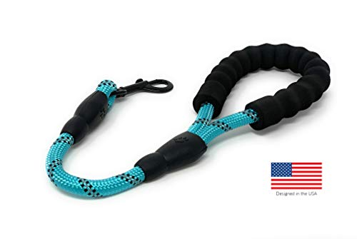 "STJ Company Short Training Leash for Dogs | Teach Them to Walk Without Pulling | 18"" Rock Climbing Rope with Swivel Metal Snap-Bolt 