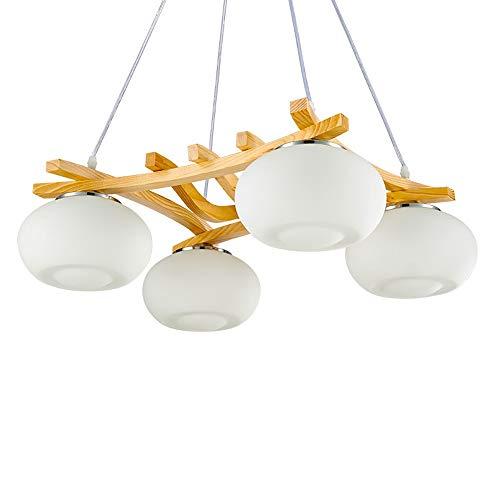 YesVCTR Roble + Metal 4 Fuente de luz Cuadrado Moderno Minimalista Creativo LED Dormitorio Sala Comedor Estudio Lámpara/Lámpara de Techo/Lámpara