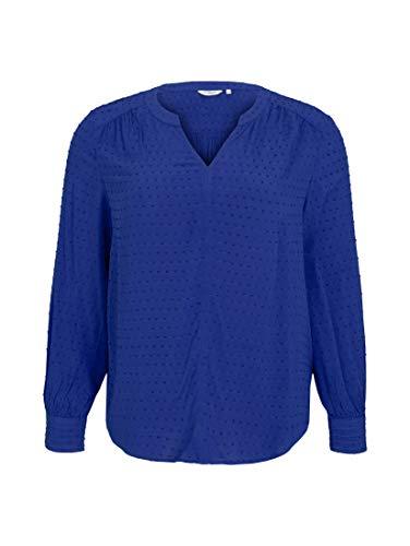 TOM TAILOR MY TRUE ME Damen Plussize Struktur Dobby Bluse, 25386-Crest Blue, 48