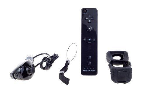 Negro Nintendo Wii mando Motion Plus paquete con Nunchuk, funda de silicona, correa de muñeca