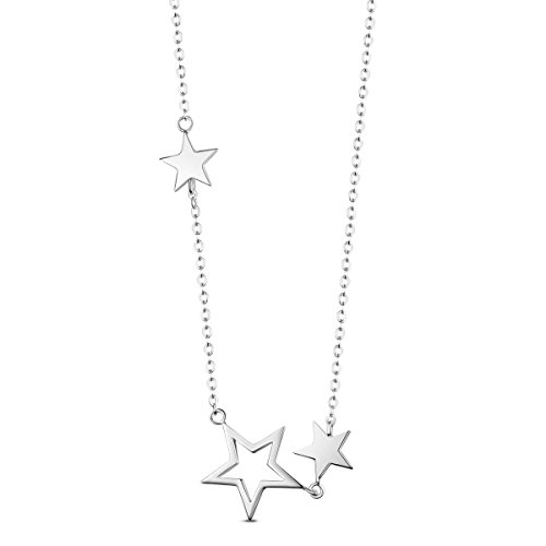 SHEGRACE 925 Sterling Silver Platinum Plated Necklace for Women with Pendant of Stars