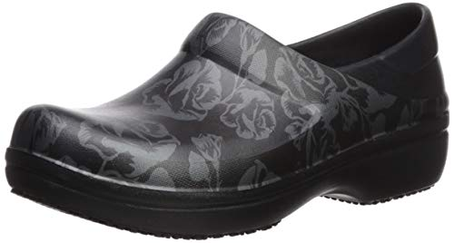Crocs womens Women's Neria Pro Ii | Slip-resistant Work and Nursing Shoe Clog, Metallic Rose/Black, 8 US