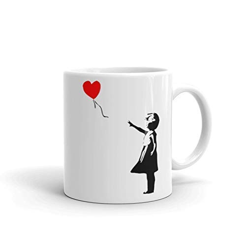 Banksy Girl with Red Balloon Street Art Graffiti 11 Ounces Coffee Mug Dishwasher and Microwave Safe