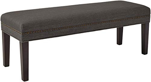 "Ravenna Home Haraden Modern Upholstered Bench with Nailhead Trim, 48""W, Grey"