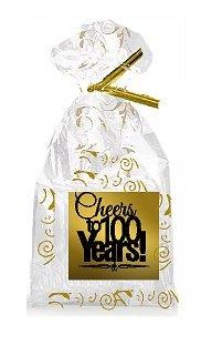 CakeSupplyShop Item#100CTC 100th Birthday / Anniversary Cheers Metallic Gold & Gold Swirl Party Favor Bags with Twist Ties