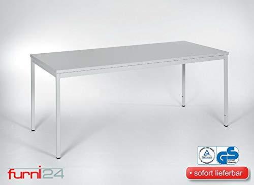 furni24 Schreibtisch Homeoffice Seminartisch 180 cm x 80 cm x 75 cm grau Verschiedene Größen schöner Stabiler PC-Tisch mit viel Beinfreiheitenstelltisch