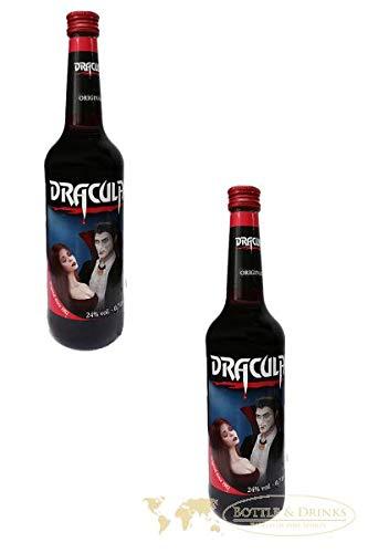 2x Dracula Likör Original in der 700ml XXL Flasche mit 24% Alc.   Ingwer, Johannisbeere und Kirsch Likör