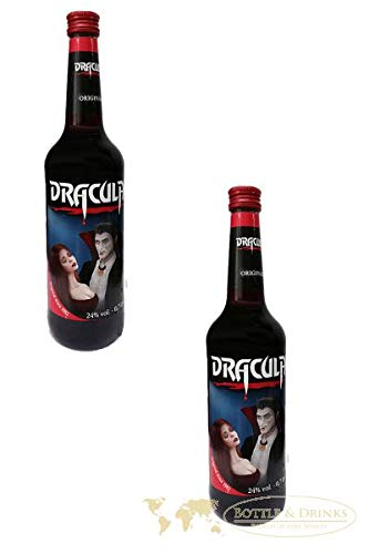 2x Dracula Likör Original in der 700ml XXL Flasche mit 24% Alc. | Ingwer, Johannisbeere und Kirsch Likör
