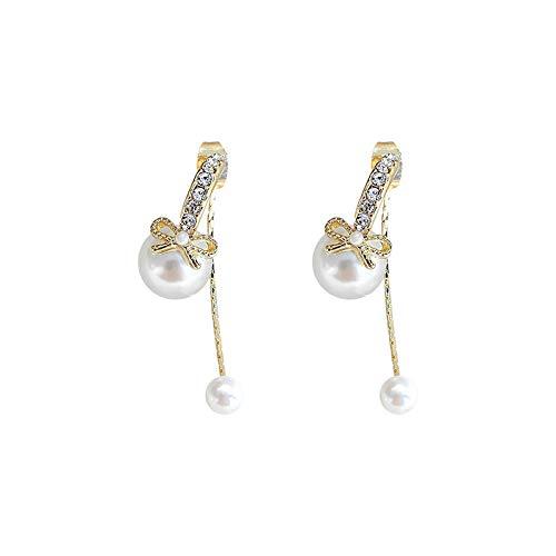 Pendientes para mujer largos Antialérgicos Pendientes de lazo de diamantes y perlas en forma de C personalizados El mejor regalo de cumpleaños o vacaciones