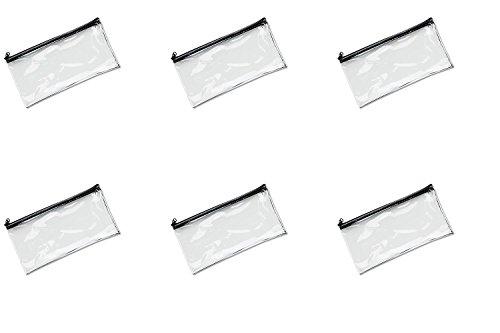 MMF Industries Vinyl Zipper Wallet, 11 x 6 Inches, Clear (234041720), 6 Packs