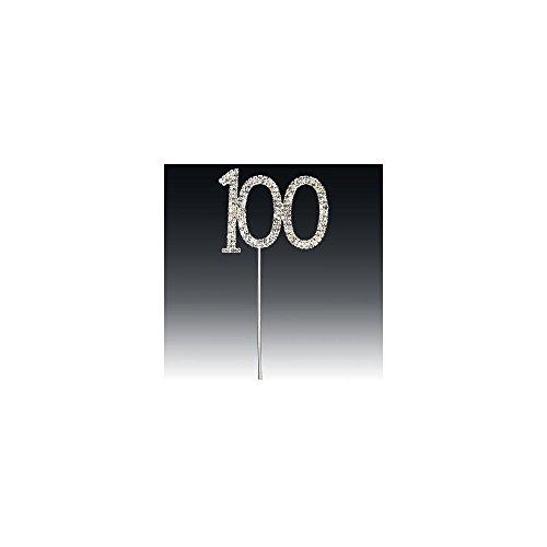 Club 100ème Vert Strass Argent Tige, Argent, 6.5 x 5.5 cm