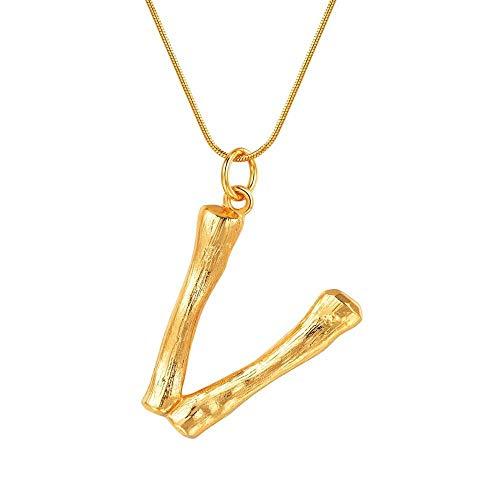 JinYiny DIY 26 Letras Collar de bambú AZ Colgante Inicial Collar Modelos Femeninos Chapado en Oro clavícula Colgante Serpiente Cadena