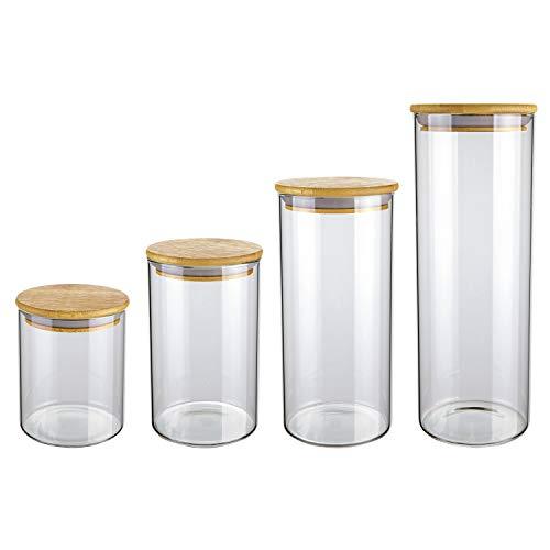 Conjunto com 4 Potes de Vidro transparente Slim com Tampa Bambu, VDR6804-4, Euro Home