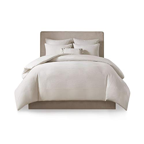 N Natori Hanae Cotton Blend Yarn Dyed 3 Piece Duvet Cover Set White King