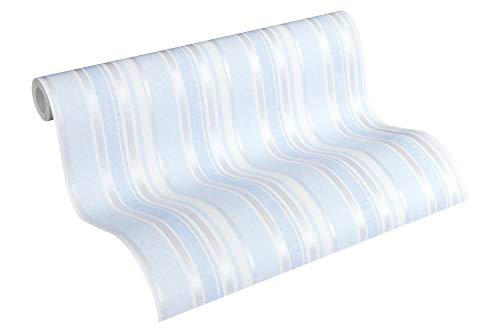 A.S. Création PVC-freie Vliestapete Little Stars Tapete gestreift 10,05 m x 0,53 m blau metallic weiß Made in Germany 358493 35849-3