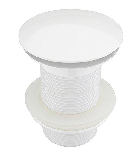 ATCO® PU23 Pop-Up Ventil Ablauf Ablaufgarnitur Excenter Exzenter Abfluss Klick-Ventil Siphon Waschtisch Waschbecken Waschschale ohne Überlauf weiss