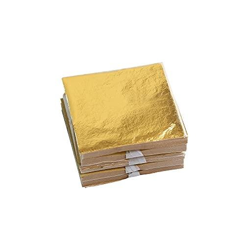 KINNO Foglia Oro, 500 Pezzi di Lamina Foglia d'oro per Doratura, Progetti di Artigianato, Mobili, Decorazioni per la Casa (5x5 cm)