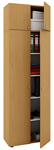VCM Schrank Universal Mehrzweckschrank Dielenschrank Holz buche 218 x 70 x 40 cm