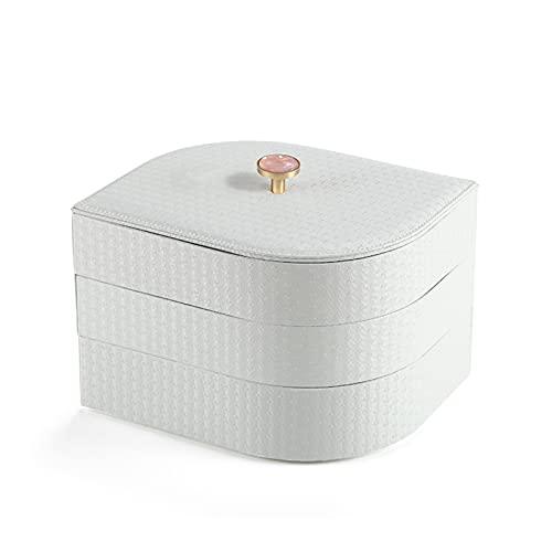 QAZX Caja de Joyas Luxury Large PU Cuero Joyería Bandeja Mujer Joyería Organizador Funda Pendiente Anillo Collar (Color : White)