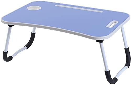 unycos - Mesa Plegable para Ordenador, Bandeja Cama, Mesa Cama Portátil, Atril para Leer en la Cama Mesa Pequeña para Ordenador, Bandeja de Desayuno, Soporte de Lectura para Cama (Azul Oscuro)