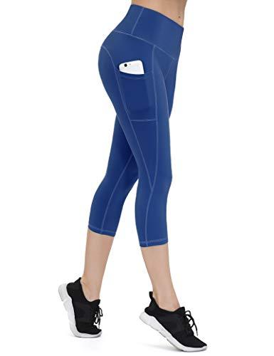 ALONG FIT Damen Capri Leggings 3/4 mit Handytasche High Waist Blickdichte Sporthose Hohe Taille Gym Leggings Bauchweg Yogahose für Fitness Joggen Berliner Blau S
