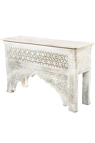 Oosterse console sideboard smal Akasha 122cm wit grijs | Orient vintage consoletafel oosters handgesneden | Landhuis dressoir van massief hout | Aziatische decoratieve meubels uit India