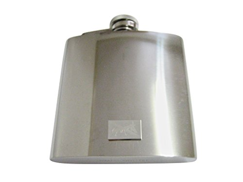 Silver Toned Etched Unmanned Aerial Vehicle UAV Drone 6 Oz. Stainless Steel Flask