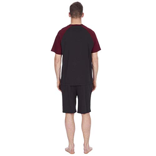 Mens Pyjama Set Short Sleeve Top & Shorts (Black_Burgandy, Medium)