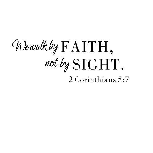 JUNGEN Pegatina de Pared Vinilo del We Walk by Faith Pegatina de Pared de Letra Etiqueta de Pared Frase Inglesa de Biblia para Sala de Estar Dormitorio Decoración 57x39cm (Negro)