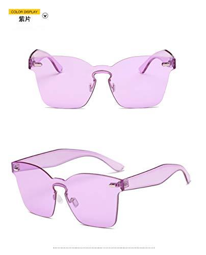 LAOGEFJ Limitado Espejo para Adultos Espejo Nuevo Gafas de Sol de una Pieza Estilo de Mujer Personalidad Americana púrpura