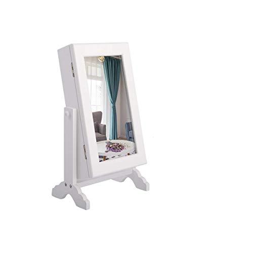 COSTWAY Armario de Joyería con Espejo 23x14x34, 5cm Estantería de Joyería de Pie Organizador para Pendientes Anillo Collar Blanco