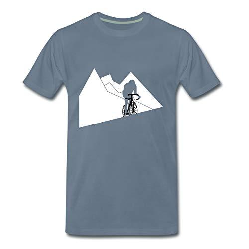 Bergetappe Radfahrer Rennrad Anstieg Männer Premium T-Shirt, L, Blaugrau