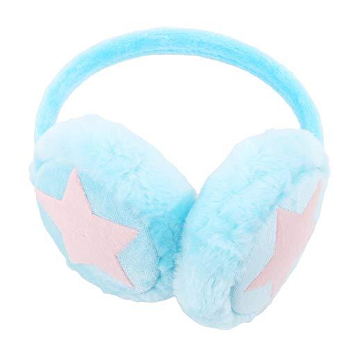 weichuang Ohrenschützer für Kinder und Erwachsene, verstellbar, mit Sternen, Plüschfell, niedliches Kopfband, Geschenk für Mädchen, mehrfarbig, warm (Farbe: Himmelblau)