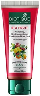 Biotique Bio Fruit Whitening, Depigmentation and Tan Removal Face Pack to Brighten dark spots, 50 g