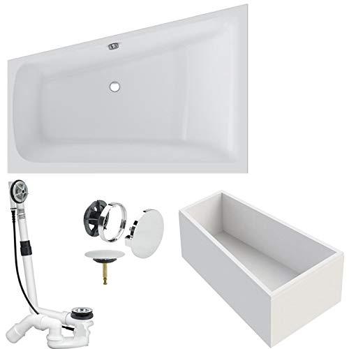 VITRA Acryl-Badewanne Trapez Raumspar Links Komplett inkl. Styroporträger und Ablaufgarnitur Viega Multiplex