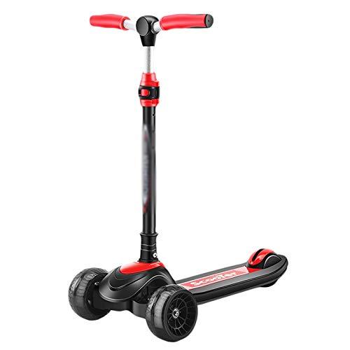ZZL Stunt Scooters Patinete de 3 ruedas para niños de 2 a 12 años de altura ajustable Kick Scooter rueda trasera freno PU ruedas intermitentes Kickboard (color negro)