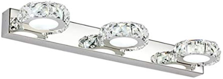 Mode LED Kristallspiegel vorderen Leuchte Edelstahl Bad wasserdicht Wandleuchte 2 3 4 Kopf Kosmetik Licht (Farbe  Runde - weies Licht - L 46H5 cm)