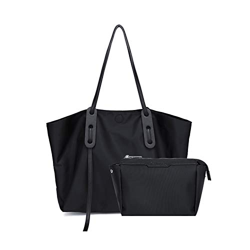 Kamlui Laptop Tote Bag for Women large Canvas Shoulder Bag Waterproof Laptop Sleeve Case Fashion Casual Womens Work Tote Bag Fits 15.6 inch Computer forfor MacBook Pro Air HP Dell (Black)