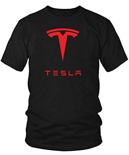 Mens Tesla Red Logo T-Shirt Men Cotton Tee (Black, Small)