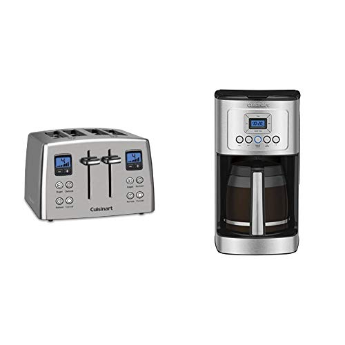 Cuisinart CPT-435 Countdown 4-Slice Stainless Steel Toaster & DCC-3200P1 Perfectemp Coffee Maker, 14 Cup Progammable with Glass Carafe, Stainless Steel
