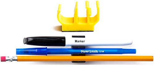 (10 pk) Yellow SelfAdhesive Pencil Pen and Marker Holder Adhesive Clip - Best Mount Organizer to Stick on Work Bench, Saw Table, Job Box, Ladder, etc. - Great for Contractor, Electrician, Carpenter