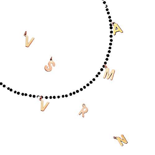 Beloved Collana componibile con cristalli briolè neri – personalizzabile fino a 15 lettere e simboli pendenti – nome, parola, iniziali - lettere o simboli colore rose gold (2 Lettere/Simboli)