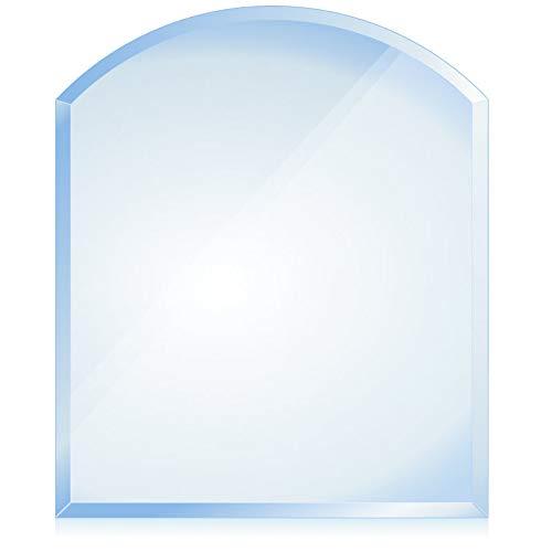 bijon® Funkenschutz-Platte mit Facettenschliff   Glasplatte Kaminofen   Kaminschutz mit ESG Sicherheitsglas   Kamin Zubehör   Kamin Glasplatte   Segmentbogen 120 x 100 cm   6mm