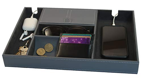 8D Elements Valet Tray Nightstand Catchall Organizer. PU Leather. Perfect mens gift for storage of a wallet, keys, large phone charging, jewelry, watch, coins, sunglasses