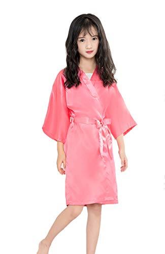 Taigood Color Puro Batas de baño satén Kimono Bata de Seda Bata camisón Ropa de Dormir