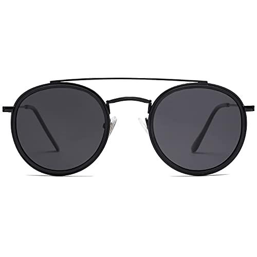 SOJOS Retro Metall Polarisiert Runde Sonnenbrille Damen Herren SJ1104 mit Schwarz Rahmen/Schwarz Linse
