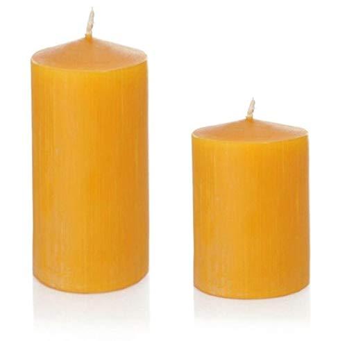 Set of 2 Pillar Candles 100% Beeswax, Natural Yellow, 10 x 8 and 15 x 8 cm, Step Set